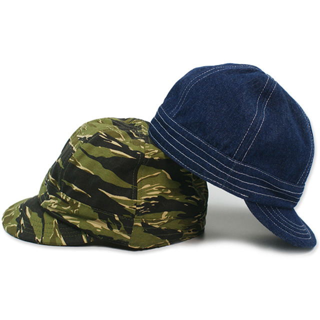 Non Stock Vintage Denim Railway Worker s Cap Camouflage Military Cap Cowboy  Hat High Quality Mens Fashion Accessory b2019acdbf3