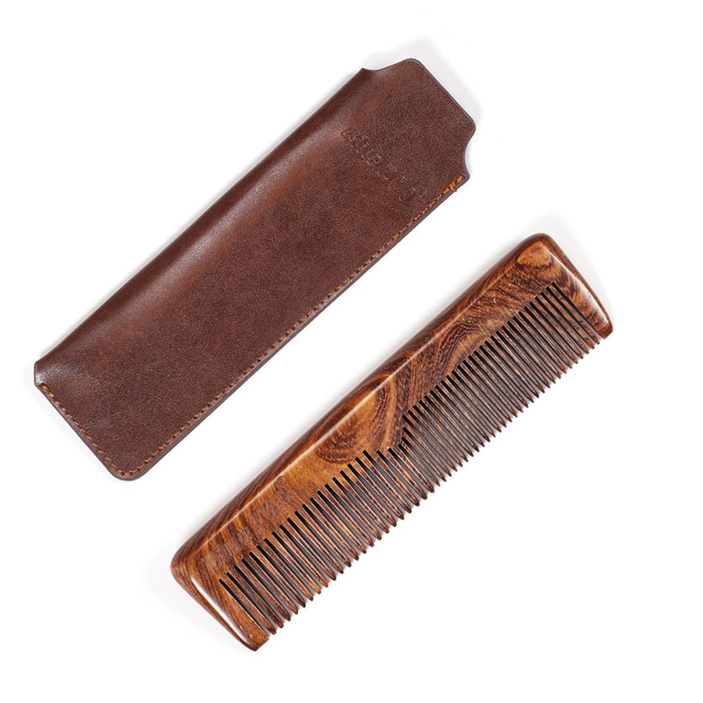 Beard Comb Black Gold Sandalwood Comb Coarse And Fine Teeth Long Comb Portable Hair Comb Beard Man Care in Combs from Beauty Health