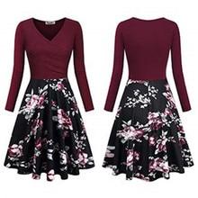 2018 spring and autumn elegant a-line v-neck long sleeve print woman dresseshot chic vintage slim female dresses