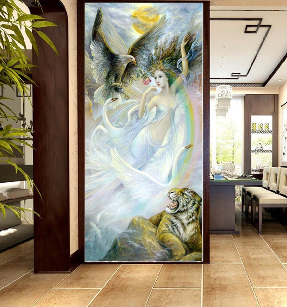 <font><b>Photo</b></font> <font><b>3d</b></font> <font><b>Wallpaper</b></font> <font><b>Sexy</b></font> Beauty Girl With Fierce Tiger <font><b>3d</b></font> Character Porch Background Wall Beautifully Decorated <font><b>Wallpaper</b></font> <font><b>Mural</b></font> image