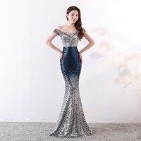 Real Photos 2019 New Charming Long Sequins Prom Dresses Mermaid Off the Shoulder Evening Party Dress vestidos de noiva