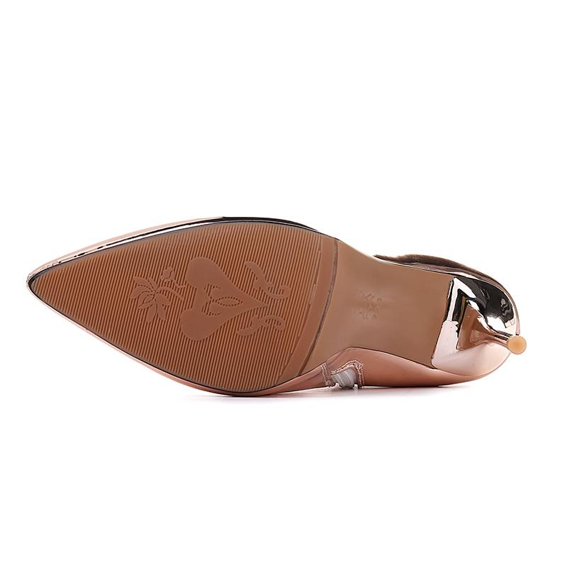 Otoño 45 Sexy Plata Zapatos plata Botas Mujeres Charol Champagne Tamaño Altos Las Champagne Invierno Espejo Más Para Kcenid Tacones A7adnqxYA