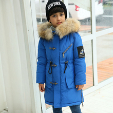 2016 new children s down jacket boys and girls fashion really raccoon fur collar long hooded