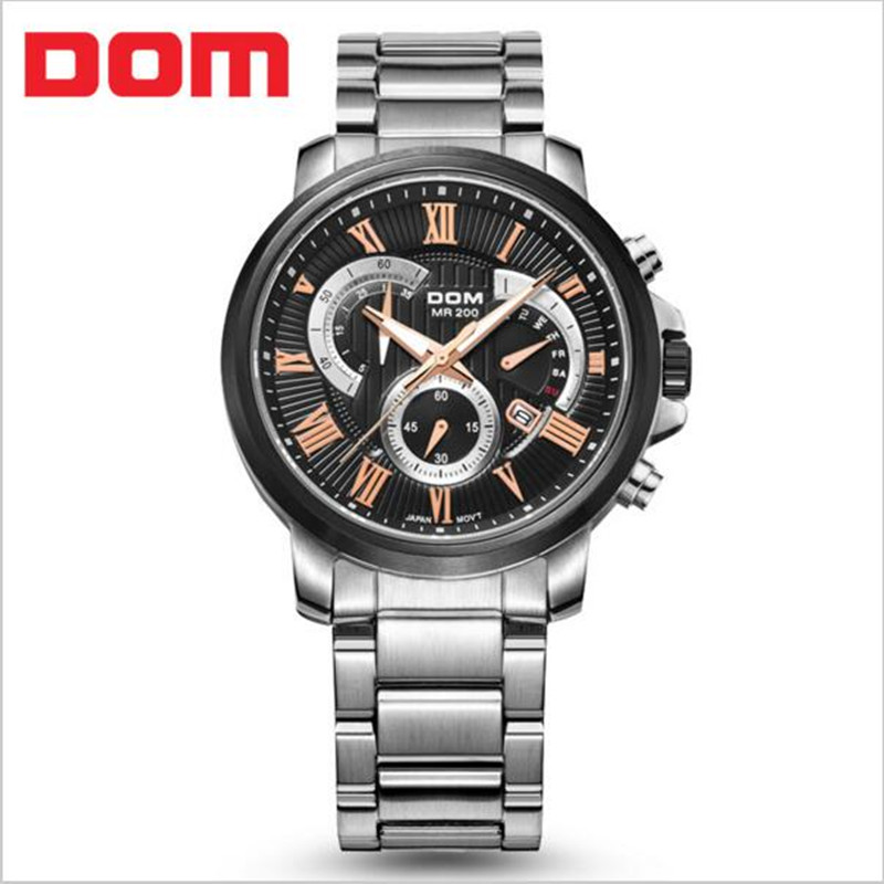 2017 Fashion Luxury Brand DOM Chronograph Men Sports Watches Waterproof Full Steel Casual font b Quartz