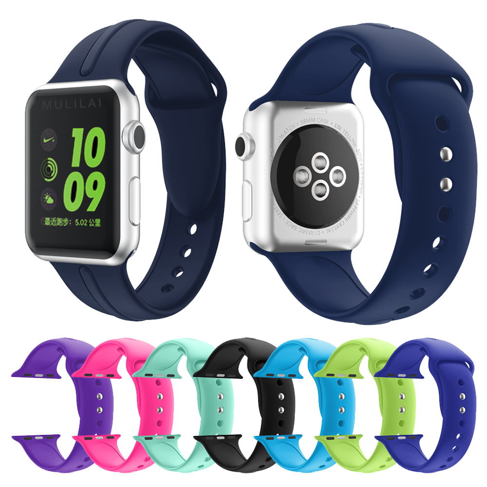 Colorful Soft Silicone Replacement Sport Band For 38mm Apple Watch Series1 2 42mm Wrist Bracelet Strap For iWatch Sports Edition silicone replacement wrist band strap bracelet for polar v800 sport smart watch t50p drop ship