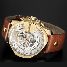 Quartz Wrist Watch Genuine Leather Strap