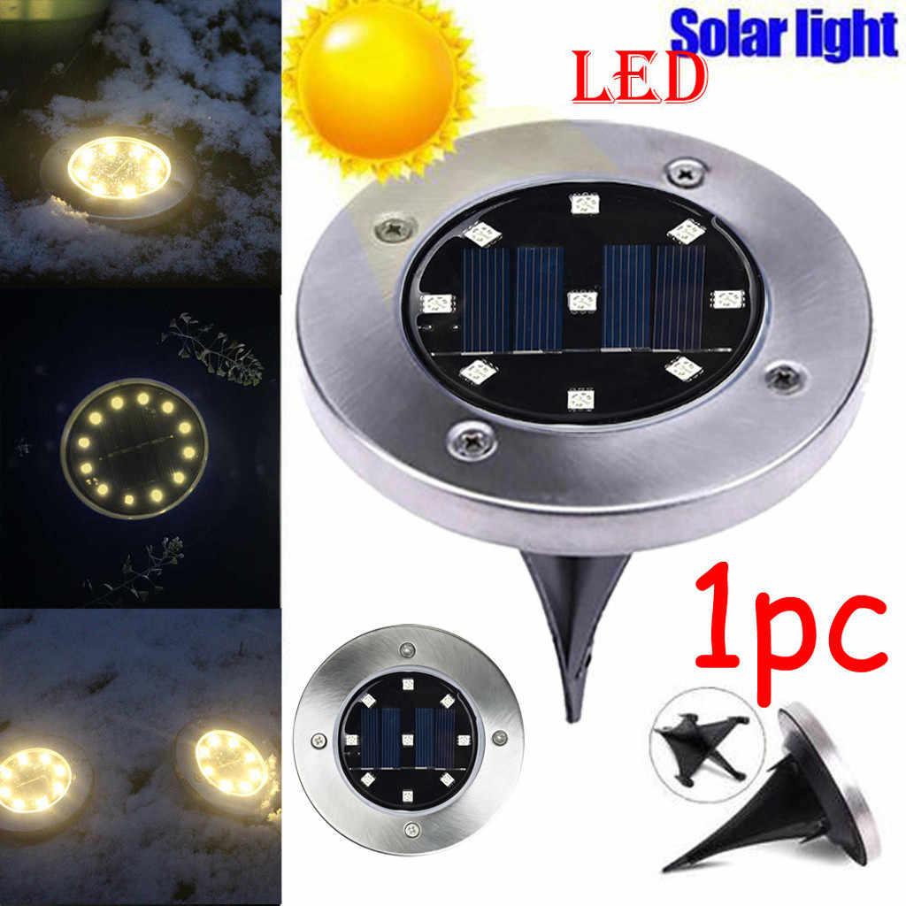 Солнечная энергия наземный красочный свет Водонепроницаемая садовая дорожка настенная лампа с 8 светодиодами Солнечная лампа для дома подъездная дорога-W