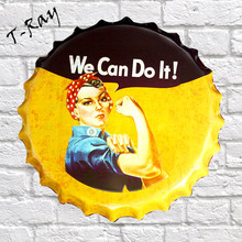 "40CM Round Beer Bottle Cap ""we can do it"" vintage Tin Sign Wall Decor Metal craft RD-02"