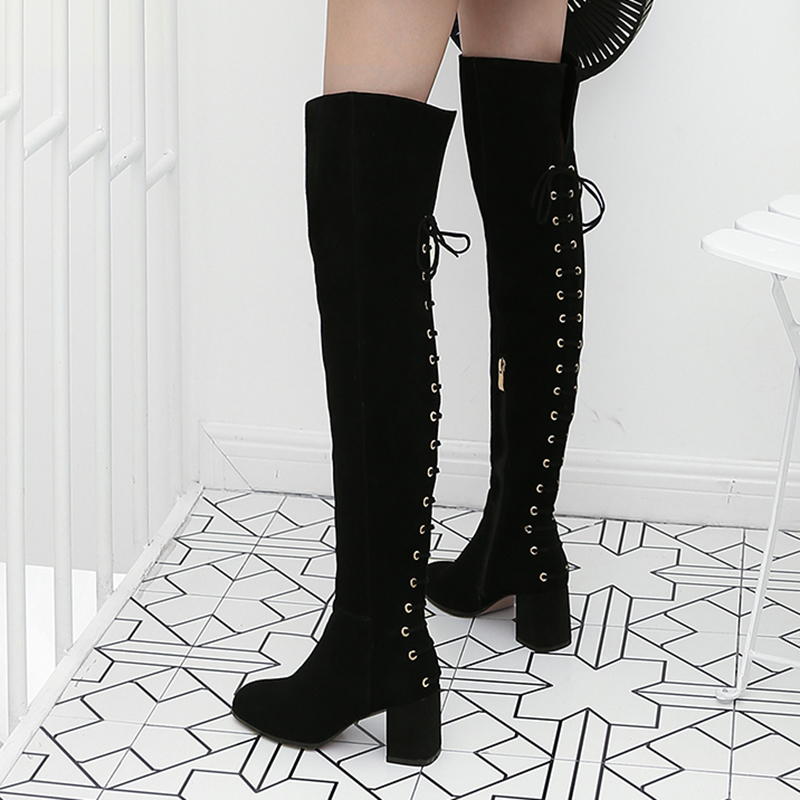 Fashion Thigh High Boots Shoes Woman Back Cross-tied Lace Up Design Female Long Boot Cow Suede Leather Lady Shoes Plus Size 41 back lace up cross crop top and high waist maxi skirt twinset