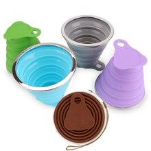 270 мл Открытый путешествия чашки силиконовые складные чашки с крышкой 4 цвета Телескопические Складные чашки кофе Выдвижной Спорт воды чашки