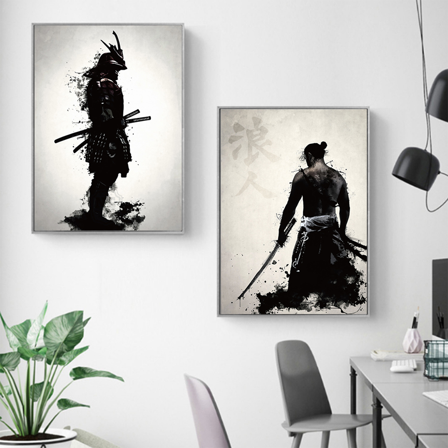 HTB1LqVJbsrrK1RjSspaq6AREXXaf Japanese Samurai Canvas Oil Painting Modern Wall Art Pictures Canvas Print For Living Room HD Home Decoration Posters And Prints