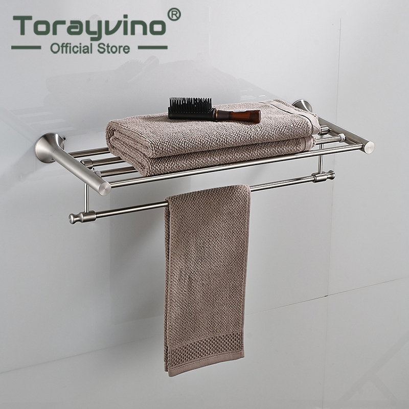 Nickel Brushed Finish Wall Mounted Bathroom Towel Rail Holder Bathroom Folding Storage Rack Shelf Bar Hanger труборез rothenberger mini max 70015