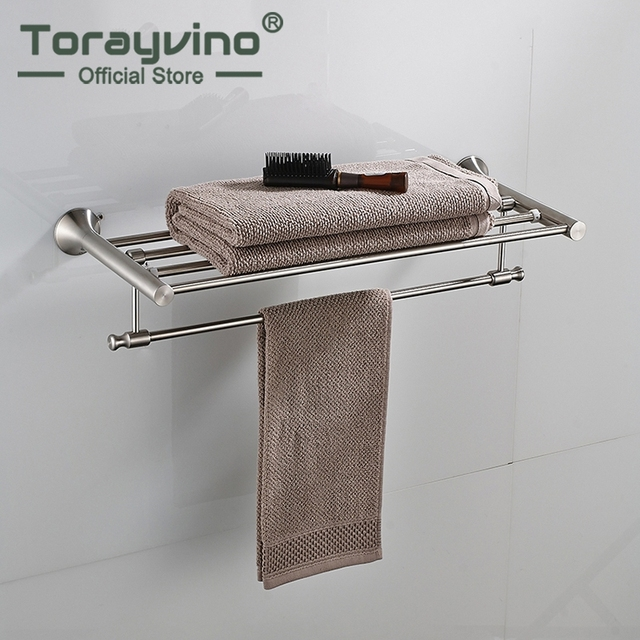 Nickel Brushed Finish Wall Mounted Bathroom Towel Rail Holder Folding Storage Rack Shelf Bar Hanger