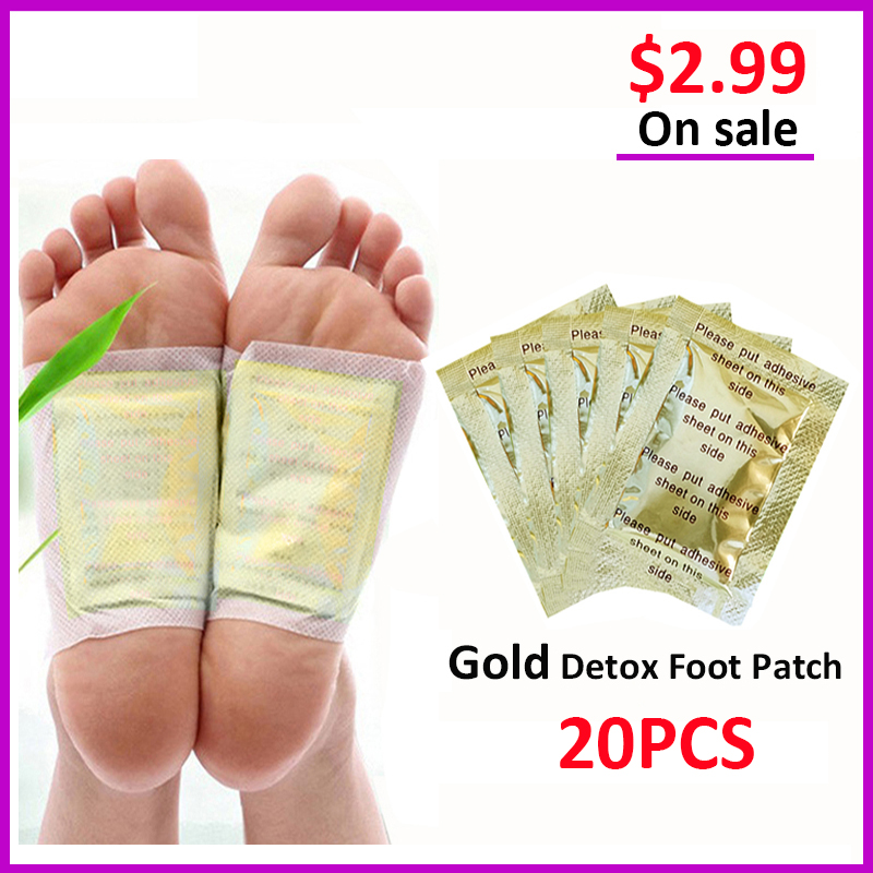 20pcs Gold Detox Foot Patch Improve Sleep Slimming Pads Anti-Swelling Foot Patch Pads Weight Loss Patch Foot Care Tool