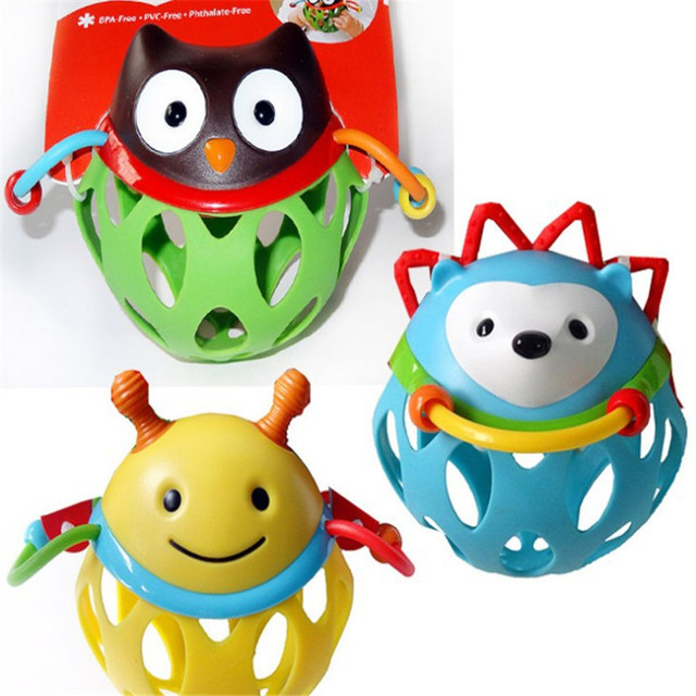 Kid's Soft Montessori Cartoon PVC Rattle Toy Set For Infant baby gift