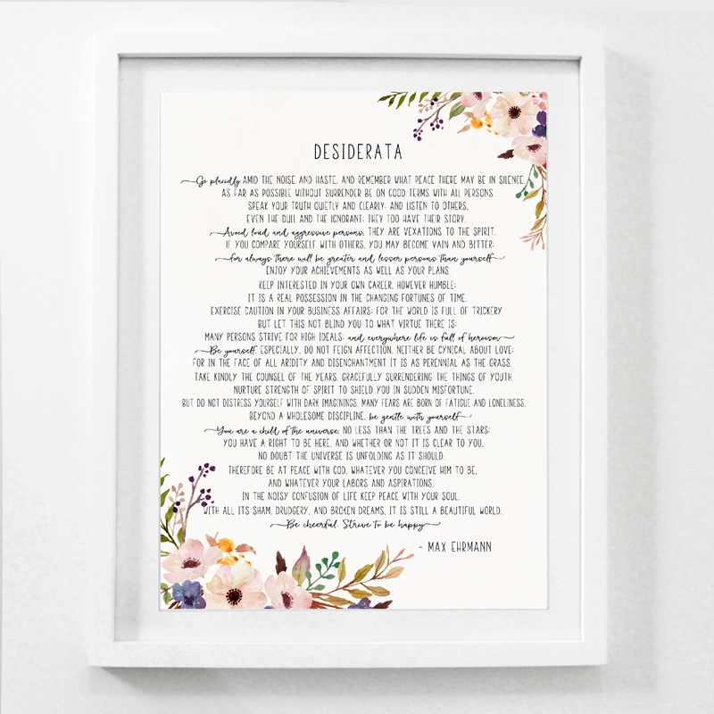 Max Ehrmann Poem - Desiderata Art Poster Canvas Poster Prints , Motivational Literary Poster Modernist Home Office Wall Art image