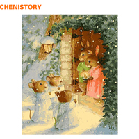 Frameless Rabbit And Snow DIY Painting By Numbers Kits Drawing Painting By Numbers With Wood Frame