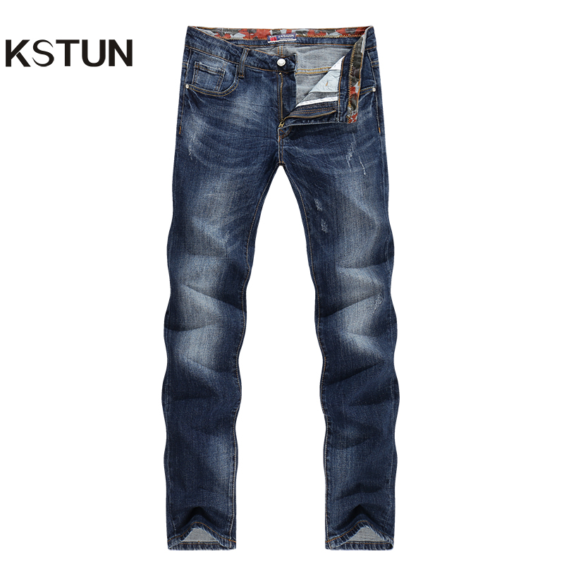 KSTUN New Arrival Winter Jeans Men Straight Business Casual Stretch Denim Pants Slim Fit Dark Blue Cowboys Long Trousers Tapered women girls casual vintage wash straight leg denim overall suspender jean trousers pants dark blue