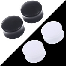 1Pair Acrylic Black and White Ear Plugs Tunnels  Ear Expander Stretcher Piercing Body Jewelry Earring