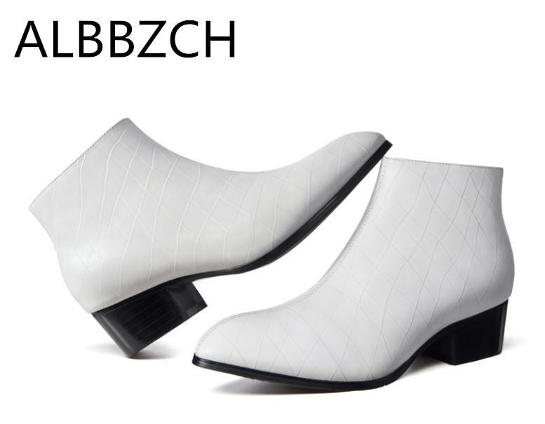 Apontou Ankle Sapatos Casamento Alto Plush Mens Do inside Short Moda New Leather Boots Inverno Couro Outono Toe Botas Genuíno inside Dos E Trabalho De Inside Salto Homens Plush Da Preto Branco Vestido qYPCgxT