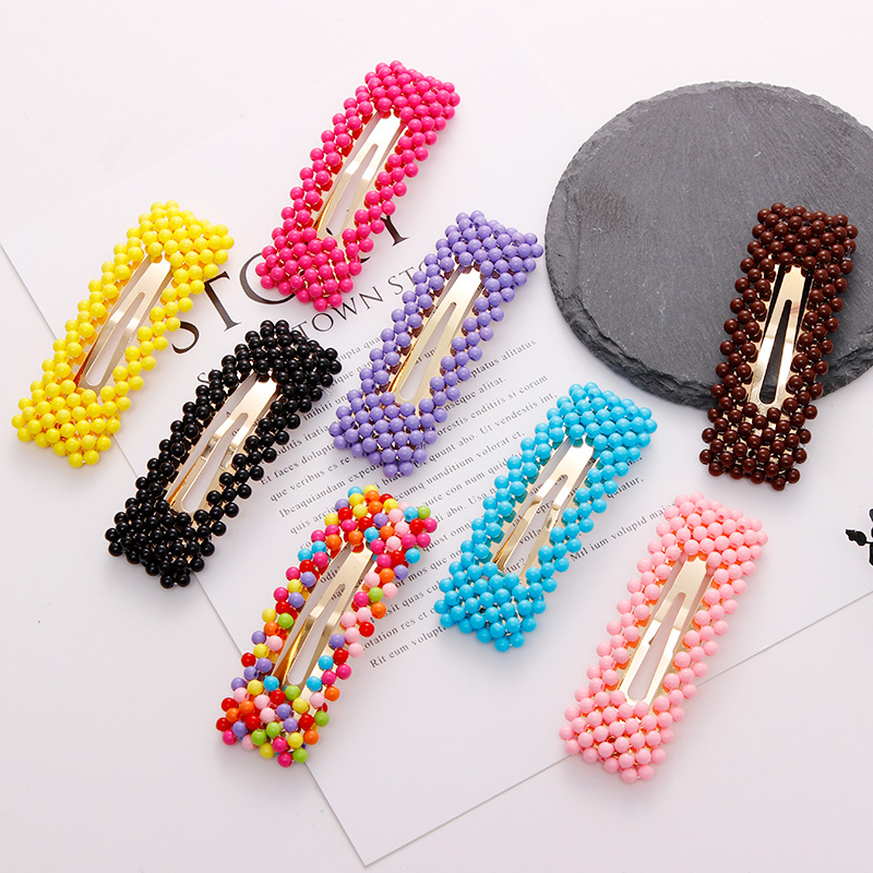 New Women Elegant Colorful Pearl Rectangle Water Droplets Hairpin Hair Clip Headband Barrettes   Headwear   Fashion Hair Accessories