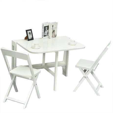 Cafe Furniture Sets solid wood folding 1 table +2 chairs set retractable restaurant dining table chairs set coffee Furniture