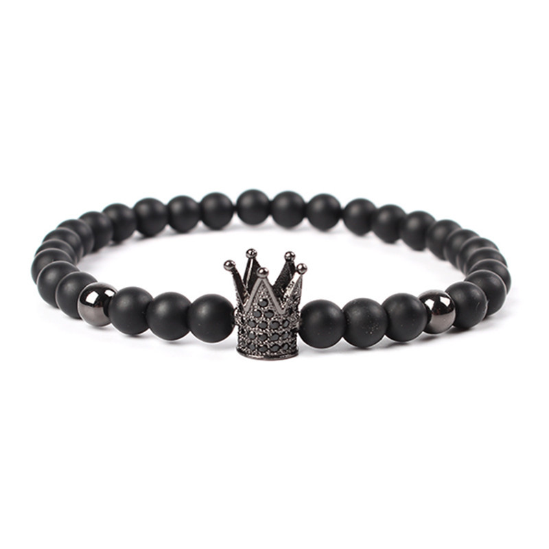MKENDN Hot Sale Trendy Imperial Crown Charm Bracelets Men Natural Stone Stone Beads For Women Men