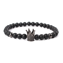 MKENDN Hot Sale Trendy Imperial Crown Charm Bracelets Men Natural Stone Stone Beads For Women Men Jewelry pulsera hombres
