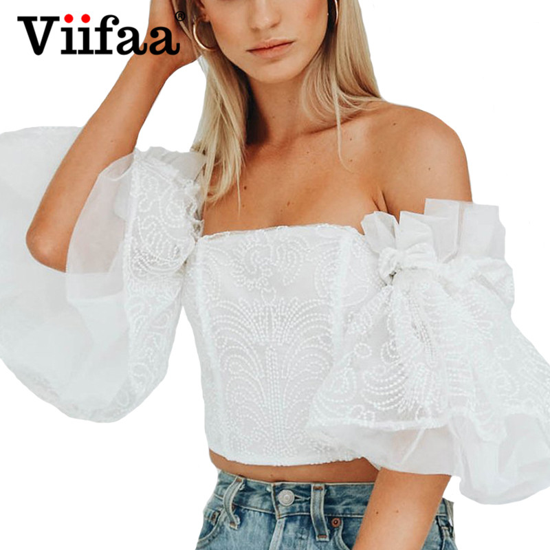 Viifaa White Lace Up Short Blouse Women Lace Tops Cap Sleeve Summer Tunic Shirt Backless Streetwear Ruffle Cotton Blouses Women's Clothing