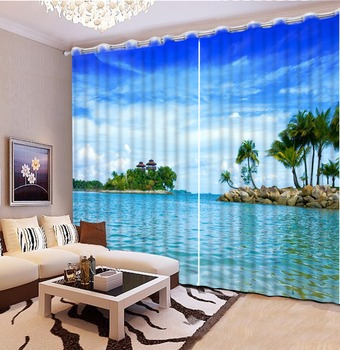 Custom Any Size Home Bedroom Decoration 3D Curtain Seascape Lsland Curtains For Bedroom Window Curtain Living Room 3D Curtain