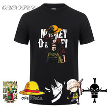 omnitee Summer One Piece Men Monkey D Luffy T Shirts Short Sleeve Cotton Anime Zoro