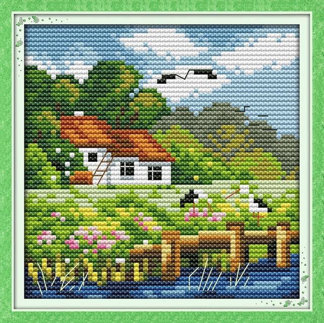 Nieuw De vier seizoenen landschap (zomer) DMC borduurpakketten 14ct wit MS-44