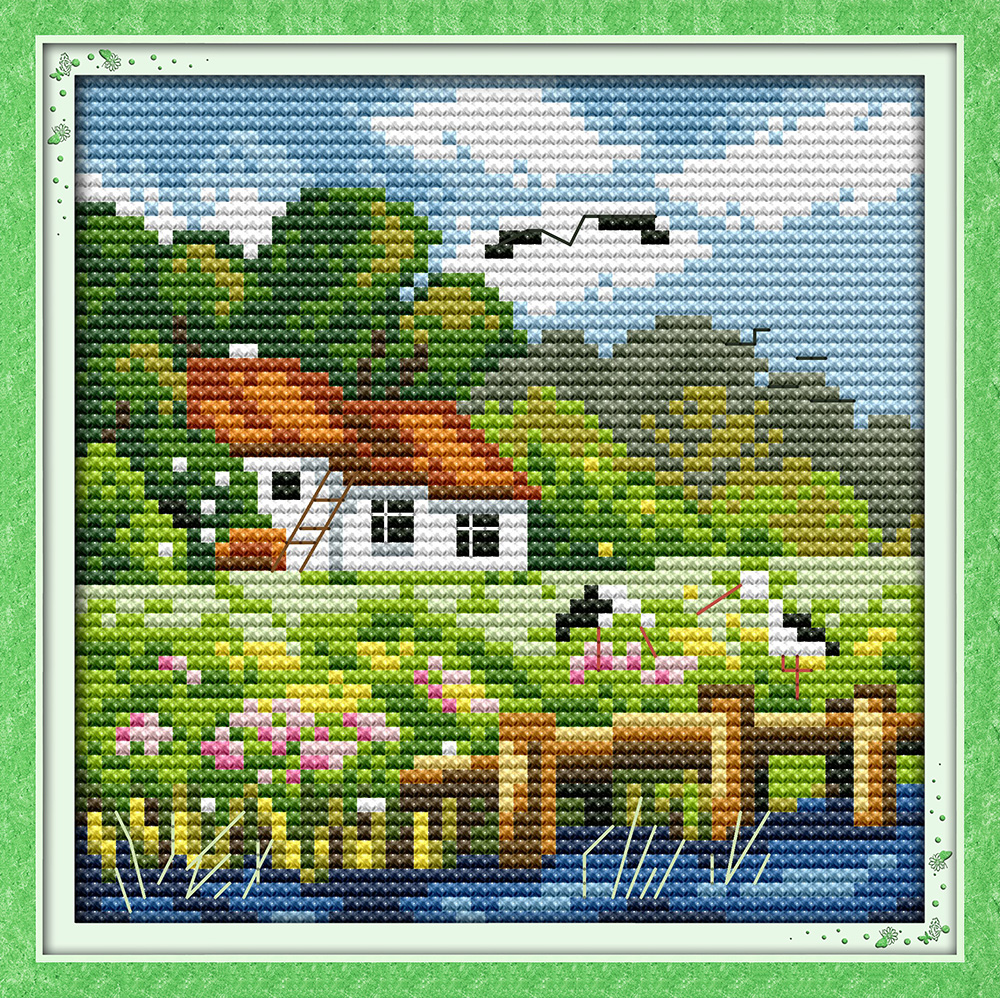 ⊰The four seasons scenery(summer) DMC cross stitch kits 14ct white ...