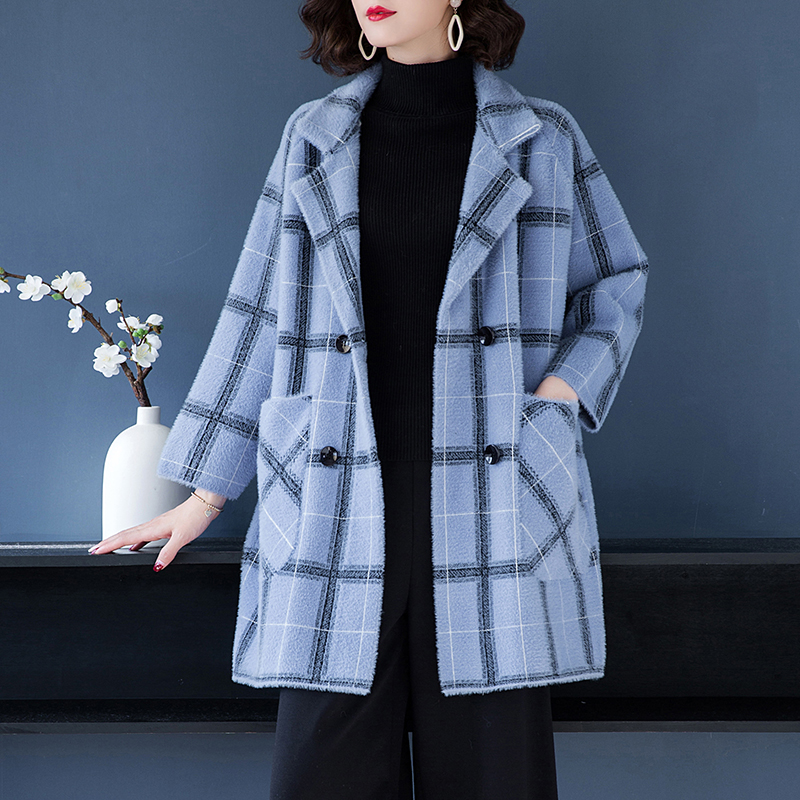 Brand Coat Fall Winter Women Coat 2019 New OL Commuter Hit Color Plaid Big Pockets Lapel Coat Thicken Double Breasted Loose Coat