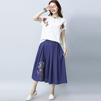 2017 New Summer Vintage Women Skirt Embroidery Folk Literature Art Long Big Pendulum In Cotton And