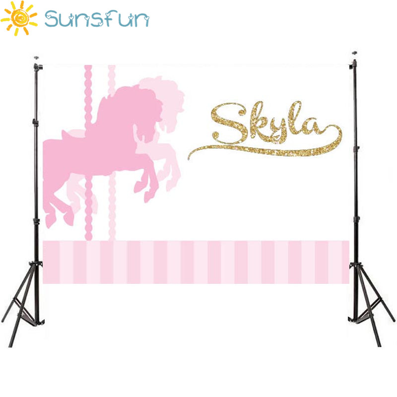 Sunsfun 7x5ft Baby Shower Pink Gold Carousel Horse Party Backdrop Custom Photo Studio Backdrop Background Banner Vinyl 220x150cm sensfun where the wild things are dessert table backdrops custom photo studio backdrop background vinyl 7x5ft
