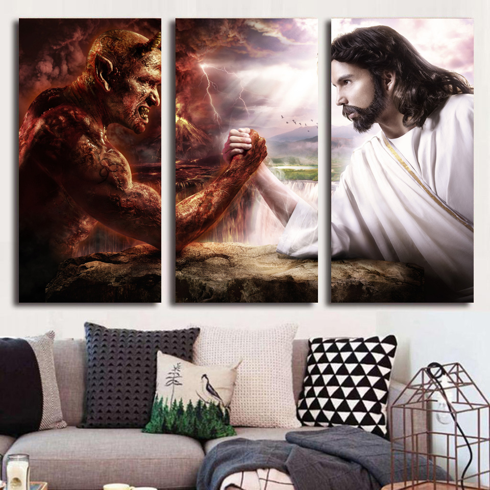 HD Printed 3 piece Jesus Christ arm wrestling with devil Painting last supper wall art canvas Free shipping/NY-5748