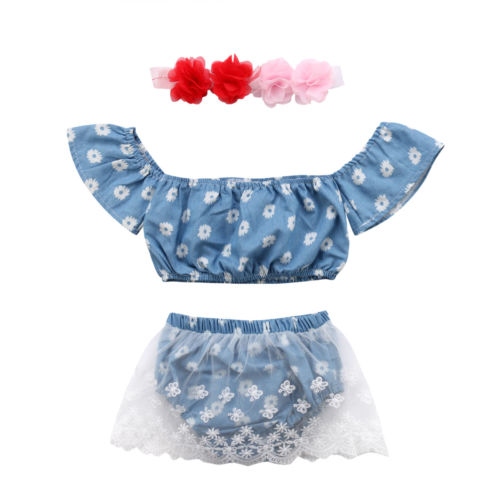 Toddle Infant Baby Girls Clothes Outfits Set Off Shoulder Floral Shirt Tops Lace Shorts Bottom Headband 3Pcs Baby Girl 0-24M