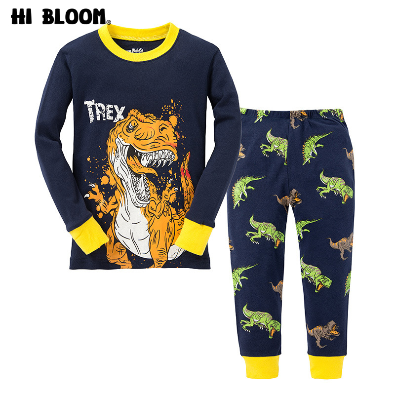 T Rex Dinosaur Cartoon Set Boys Autumn Clothing Set Kids Long Sleeve T- Shirt Pants Pajamas Sets For 2-7 Years Children Clothes lasyarrow brand shoes women pumps 16cm high heels peep toe platform shoes large size 30 48 ladies gladiator party shoes rm317