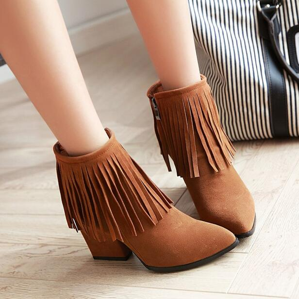 High quality 2017spring autumn women font b boots b font Tassel Pointed Toe Side Zipper font