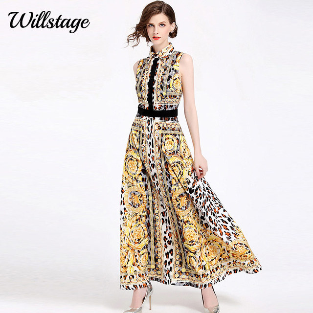 17841d9b32e3a US $29.81 35% OFF|Willstage Golden Maxi Dress Women Sleeveless Sexy boho  long dresses Floral Pattern Patchwork Elegant Vestidos High quality-in ...