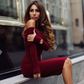 Новая Осень Хлопок Женщины Одеваются Сексуальная Slash Шеи Выше Колена Дамы Платье Fashion Party Платье Пакет Хип Bodycon Vestidos Халаты