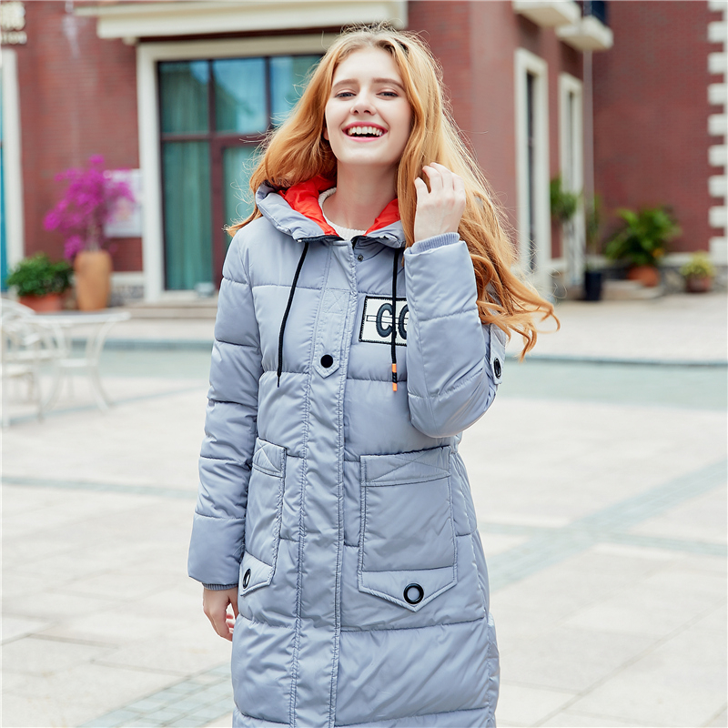 Gray Black Winter Coat Women 2017 Hot Sale Long   Parka   Fashion Students Slim Female Clothing Plus Size L-3XL Thick Jackets Basic