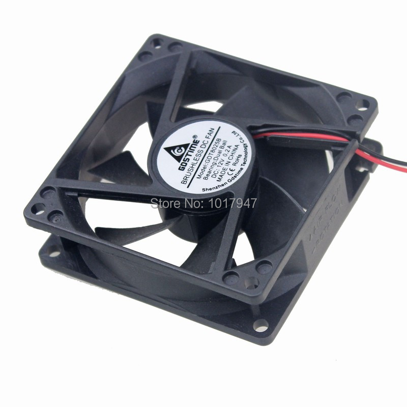 10Pieces lot Gdstime DC 12V 2Pin 8cm 80mm 80x25mm 8025 Computer Ball Cooling Fan