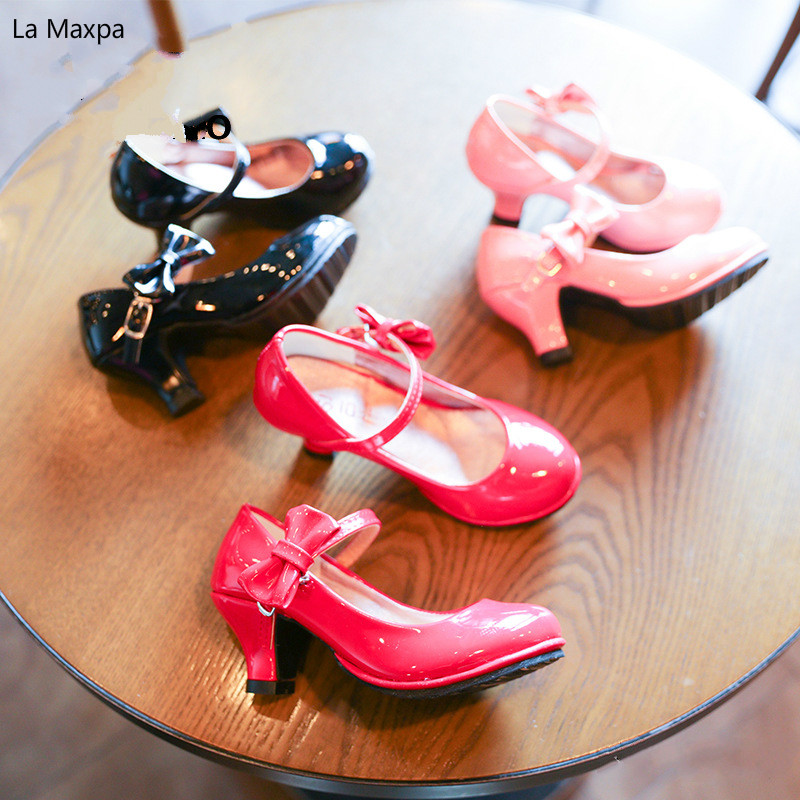 Childrens Princess Shoes Dance Piano Show Baby Birthday Wedding Low Heels Shoes Girls Bows Pu Fashion Leather Shoes