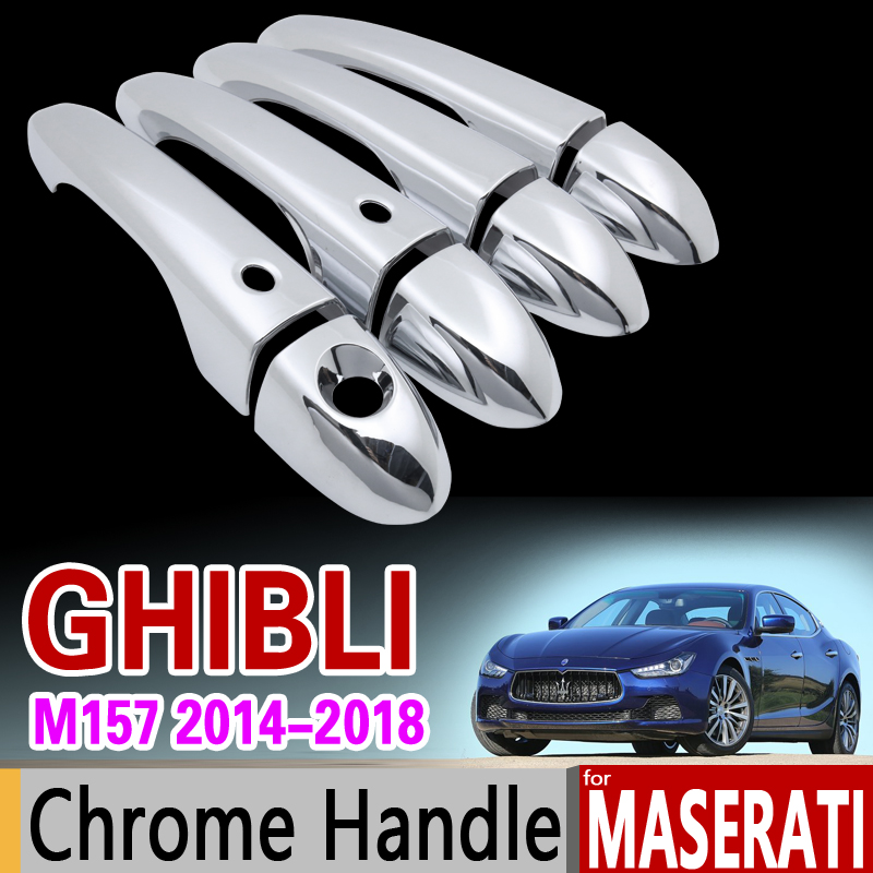 Maserati Ghibli M157 Luxurious Chrome Door Handle Cover Trim Set 2014 2015 2016 2017 2018 Car Accessories Stickers Car Styling