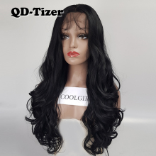 QD-Tizer Free Part Long Hair Lace Front Wigs Black Body Wave