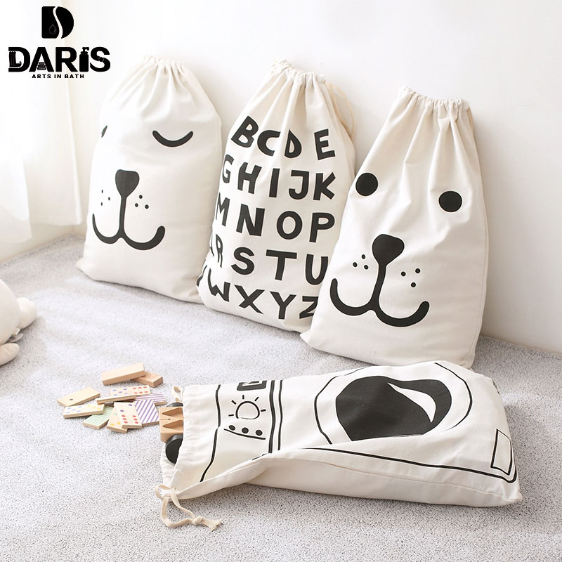 SDARISB White Cartoon Toy Laundry Basket Cotton Dirty Letter Laundry Bag Children Hanging Drawstring Toy Storage Bag Multiple
