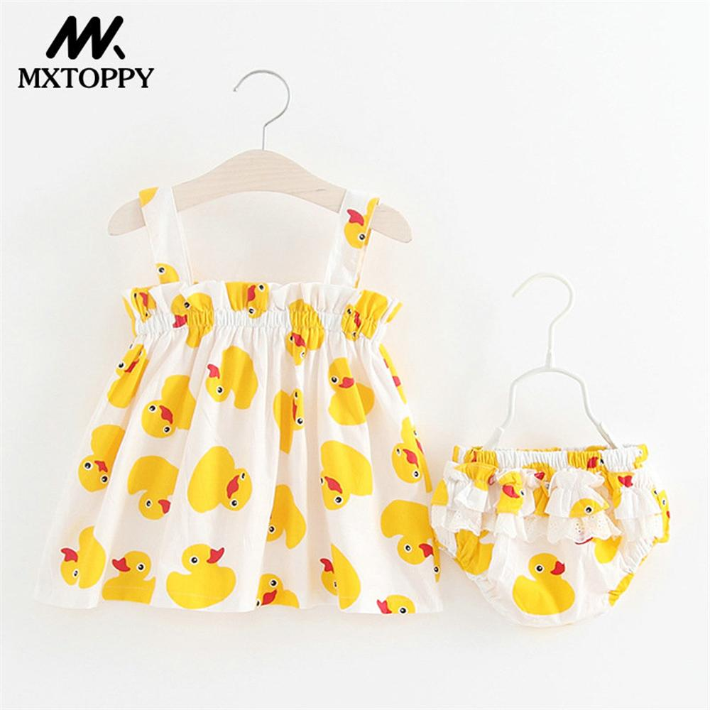Baby Girls Clothes New Arrival Summer Cartoon Baby Dress Yellow Duck Sleeveless Baby Girls Dress For Bebe 0-3Y