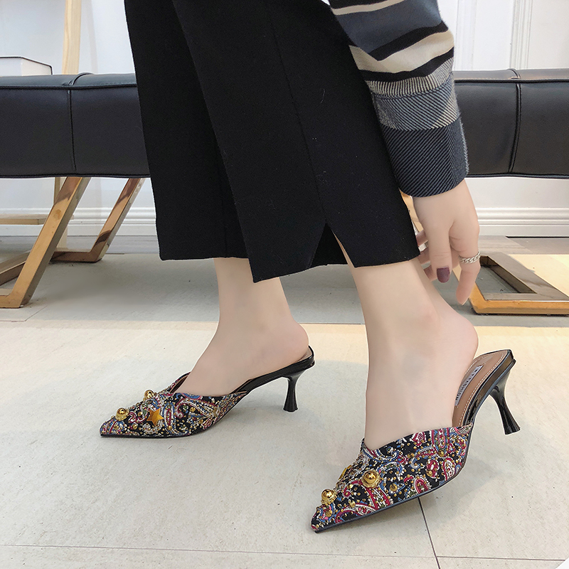 HKJL New women 39 s shoes for spring 2019 with pointed stilettos midriff toe slippers and stylish water drill rivet loafers A383 in Slippers from Shoes